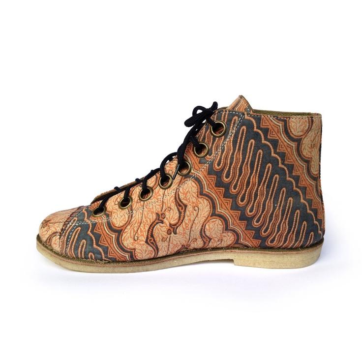 Ethnic batik art canvas shoe, wood carving pattern. $70.00, via Etsy.