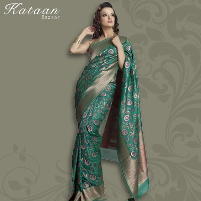 Pure Silk Hand Woven Green Saree