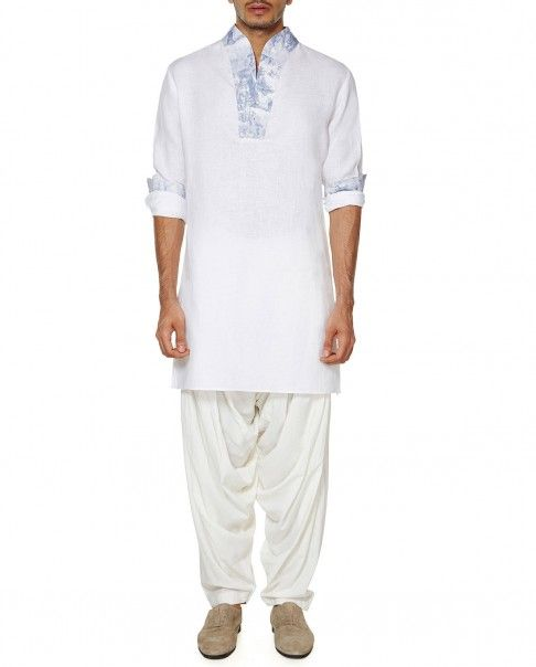 White Kurta with Printed Neckline