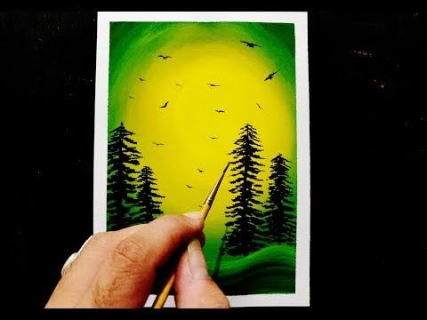 Easy Poster Colours Painting Ideas For Beginners Creative Landscape Painting Jaideep Daiya You Poster Color Painting Beginner Painting Amazing Art Painting