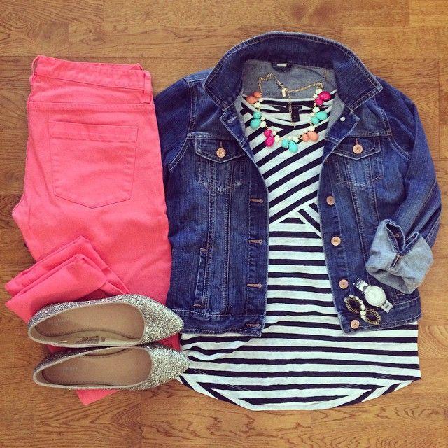 Striped Tee, Coral Skinny Jeans, Jean Jacket, Glitter Flats | #weekendwear #casualstyle #liketkit | www.liketk.it/1k3Yc | IG: @whitecoatwardrobe