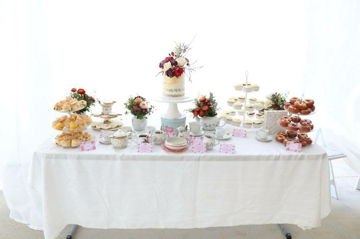 Cake table, tea party, baby shower, wild flowers