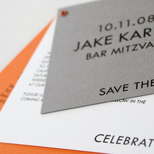 "This modern Bar Mitzvah save-the-date features the up-and-coming ""gray plus a bright"" color combination.  We happen to love it with our Orange Juice paper and eyelet."