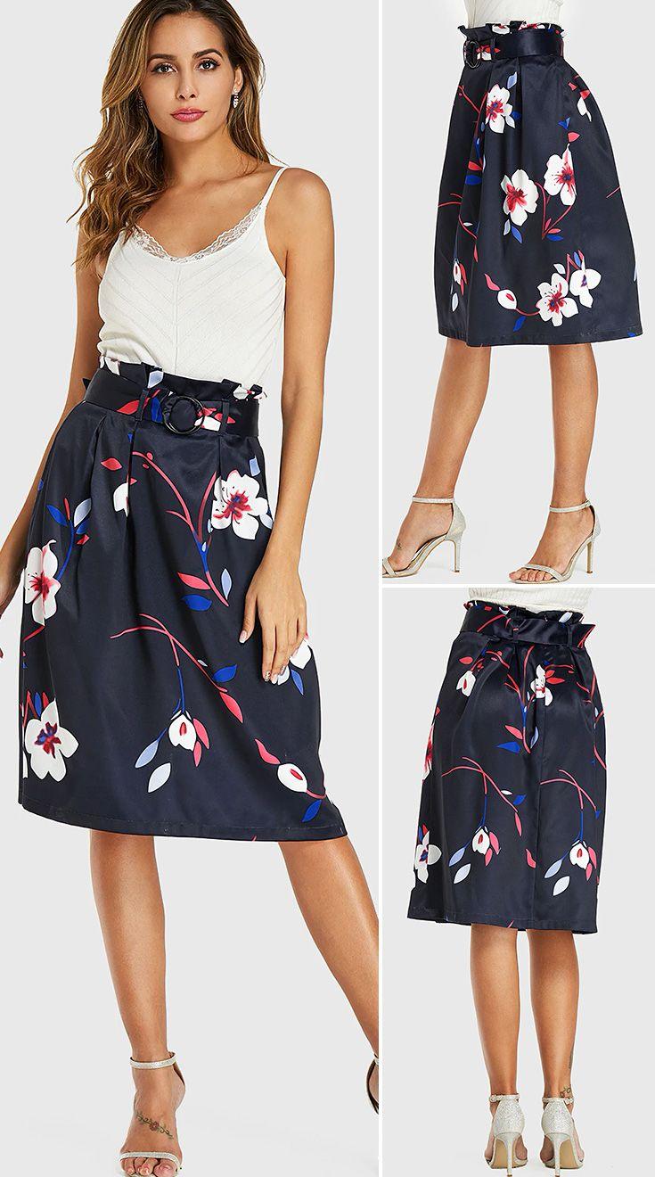 Royal Random Floral Print Belt Design Skirt - US$19.99 -YOINS in 2020 |  Fashion, Pinterest fashion, Skirt fashion