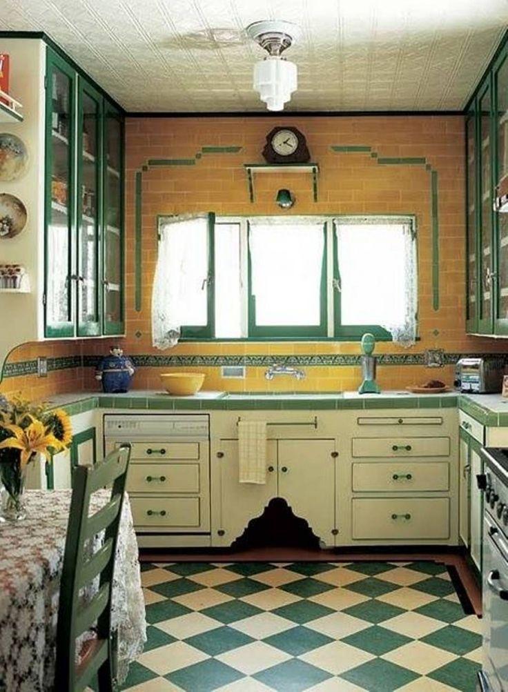 Green Checkered Flooring For Kitchen Island