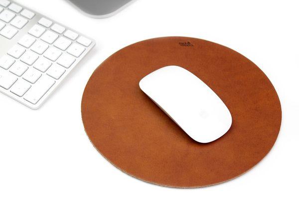 Leder Mauspad rund rutschfest und ultradünn öko und natur magic mouse pad anti rutsch hochwertig und edel echtleder in Braun Schwarz