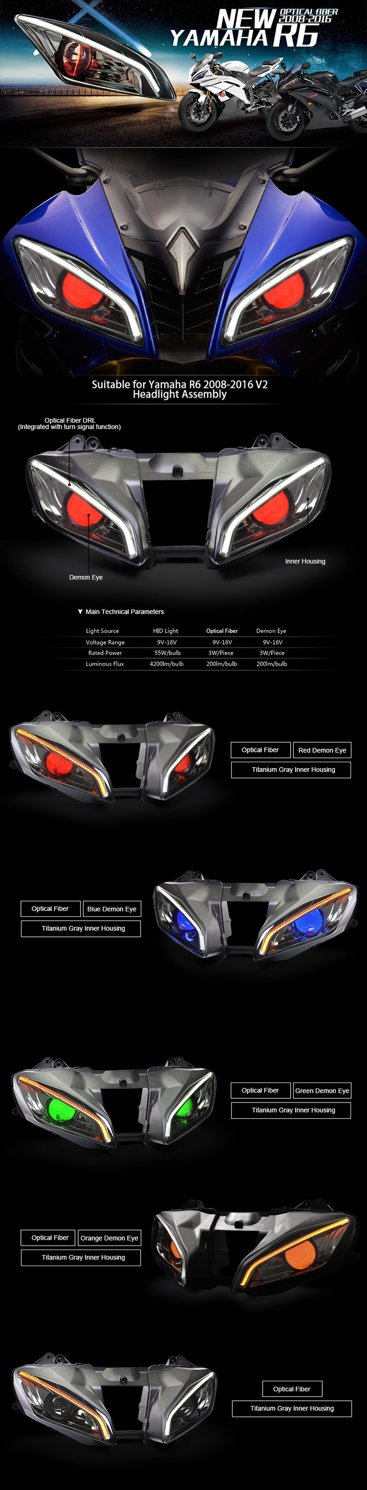 Yamaha YZF R6 optical fiber custom headlight Assembly 2008-2016 V2