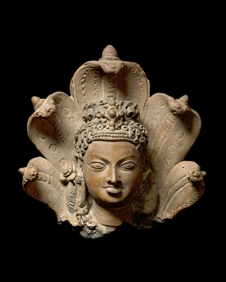 "John Eskenazi LtdHead of Manasa, the serpent goddessEastern IndiaGupta period, early 6th centuryTerracottaHeight : 30cm (11.81"")The above date has been corroborated by Thermoluminescence analysis."