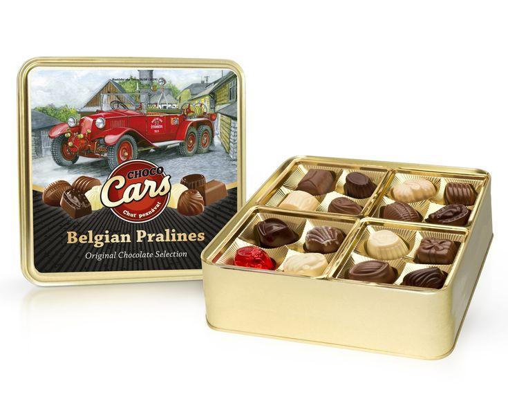 Belgické pralinky ve zlaté bonboniéře z kolekce Choco Cars.