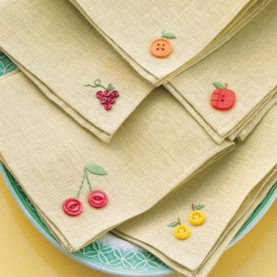 DIY Fruity Button Embroidery Napkins