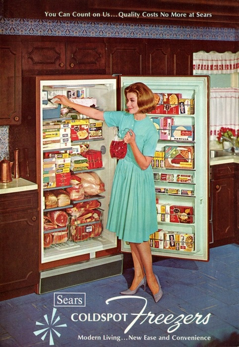 Sears Coldspot Freezer advertisement, 1965. ~That's a lot of food!