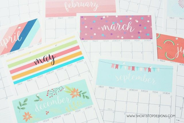 2017 Printable Calendar – Short Stop Designs
