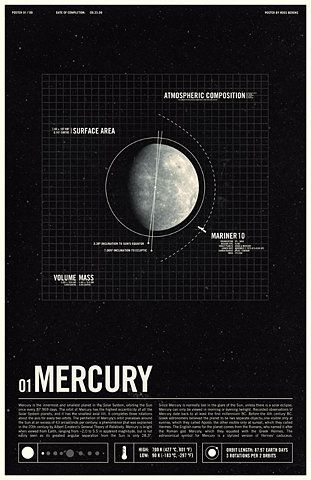 Ross Berens: Spaces, Planets, Poster Design, Art Illustrations, Graphicdesign, Graphics Design, Ross Berenss, Mercury, Milky Way