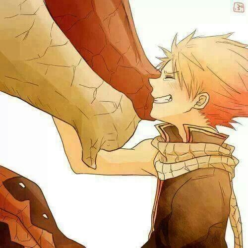 Natsu from Fairy Tail with his surrogate father Igneel...he was raised by a dragon :)