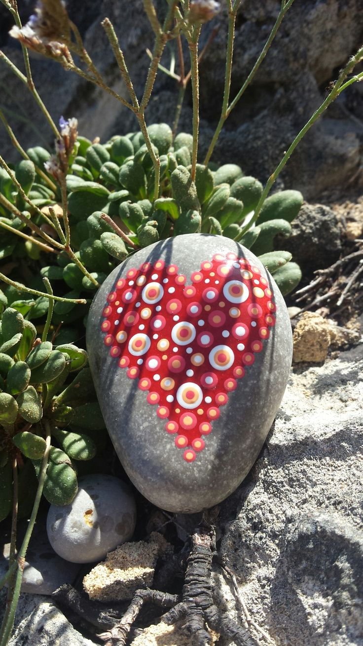 Hand painted stone red heart dots