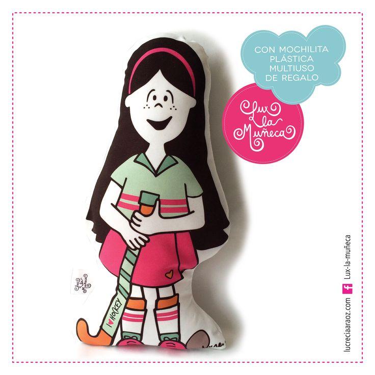 LUX JUGADORA DE HOCKEY #ilustracion #illustration #pink #muñeca #deco #kids Facebook: lux la muñeca Ventas : tienda.citarte.net