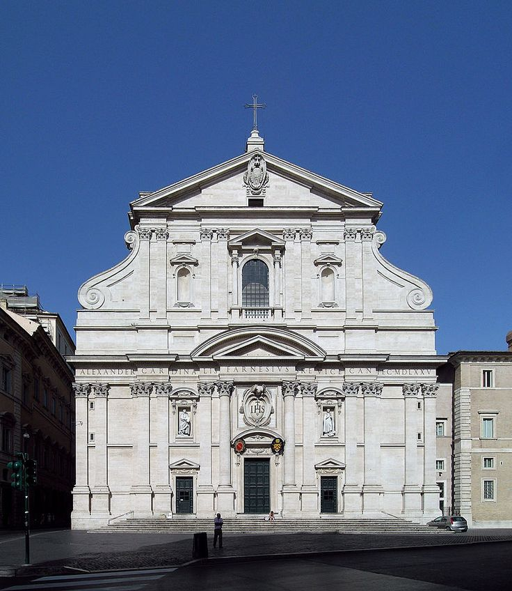 Church of the Gesù, Rome. Giacomo della Porta 1575-7. Baroque really means absurd or grotesque, used by men wh insisted that the classical buildings should only be used in ways adopted by greeks. not do so was a lack of taste hence the label Barque. this building was a new church combining the renaissance idea of round and symmetrical had been rejected. the way the classical elements are fused into a pattern which is not repetitive, giving the whole structure richness, variety and solemnity
