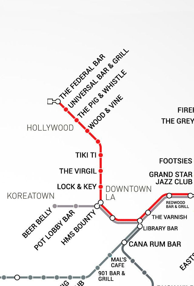 Metro map including top bars within a 10 min walking distance from each stop :)