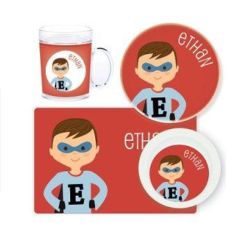 Superhero Boy Personalised Kids Mealtime Set $32.95 - $39.95 #sweetcreations #baby #toddlers #kids #personalised