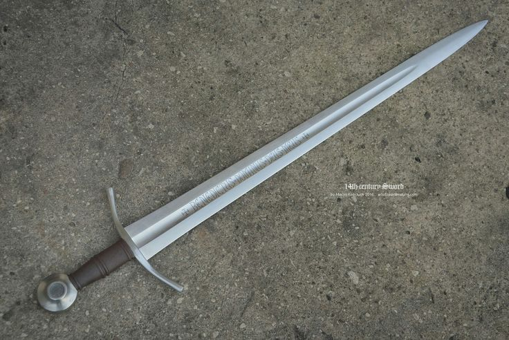 "14th century sword Type XIV Overall Length 36.6"" Blade Length 30.1"" Grip 3.7"" Blade Width 2.4"""
