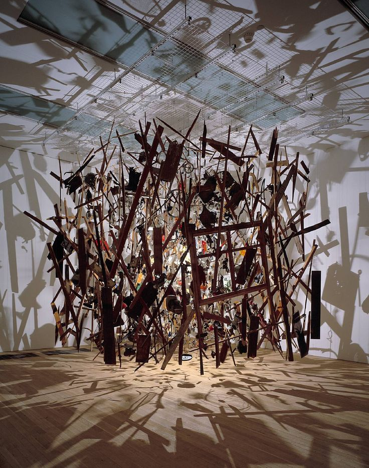 Cold Dark Matter: An Exploded View by Cornelia Parker. Saw this at The Tate Modern, London and completely fell in love with it. There was so much to see in the actual exhibit and the single lightbulb lighting the room made it almost feel magical with all the shadows on the walls.