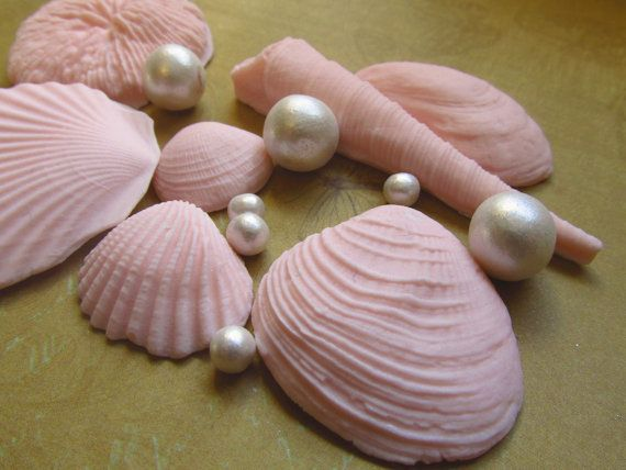 Fondant Seashells and Pearl cake topper or by TWOSWEETCAKES, $33.00