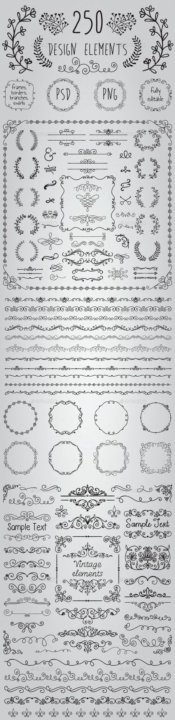 Big Set of 250 Handsketched Design Elements (Transparent PNG, CS, 500x500, 6.9x6.9, banners, black, border, branch, bundle, clipart, congratulation, decoration, drawing, editable, elements, flourish, foliage, foliate, frame, greeting, hand drawn, invitation, laurels, leaves, ornaments, pack, rustic, sketch, wedding):