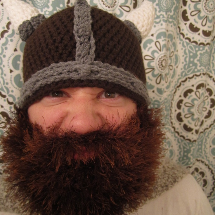 Crochet Viking Hat With Beard : Viking Hat - Removable Realistic Beard.
