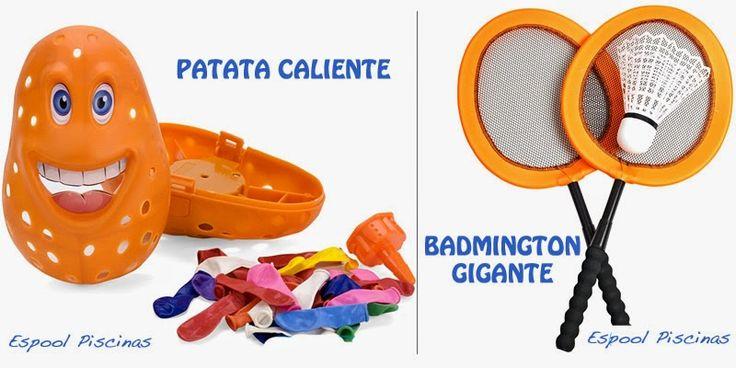 juegos de piscina y jardín para niños: patata con globos de agua y raquetas de badmington - Espool Piscinas, Guadalajara - info@espoolpiscinas.es