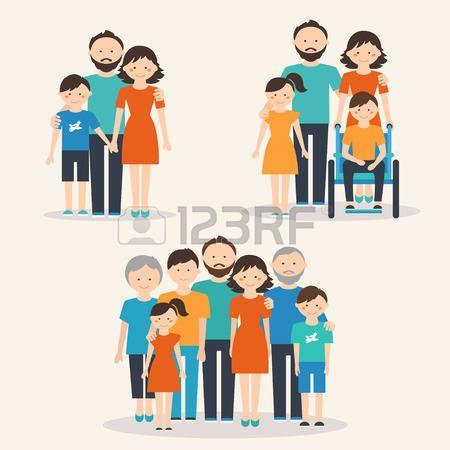 discapacitados felices: Familia Nuclear, Familia con Necesidades Especiales de Niños y Familia extendido. Las familias de los diferentes tipos