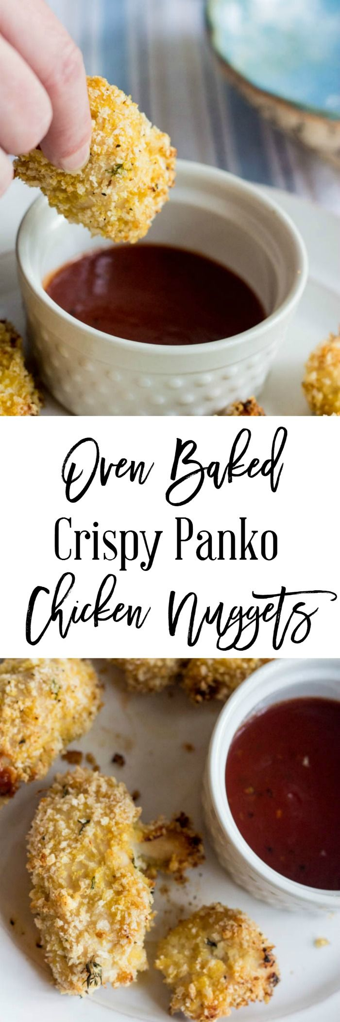If you crave chicken fingers, try these oven baked crispy panko chicken nuggets recipe. It's so easy to make and taste like they were fried...but they aren't!