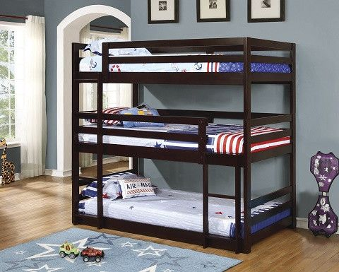 """TRIPLE TWIN BUNK BED IN CAPPUCCINO FINISH. THIS IS THE ULTIMATE SPACE SAVER FOR SMALL ROOMS. MULTIPLE CONFIGURATIONS TO SUIT EVERY HOUSEHOLD. BUNK BED: 78.25"""" W X 44"""" D X 76.75"""" H"""