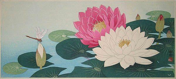 hanga gallery . . . torii gallery: Dragonfly and Flowering Lotus by Ohara Koson