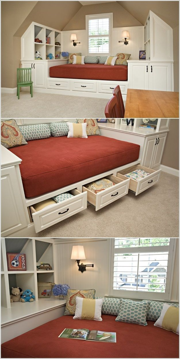 Building a bed with hidden storage under a slanted ceiling...love this idea!