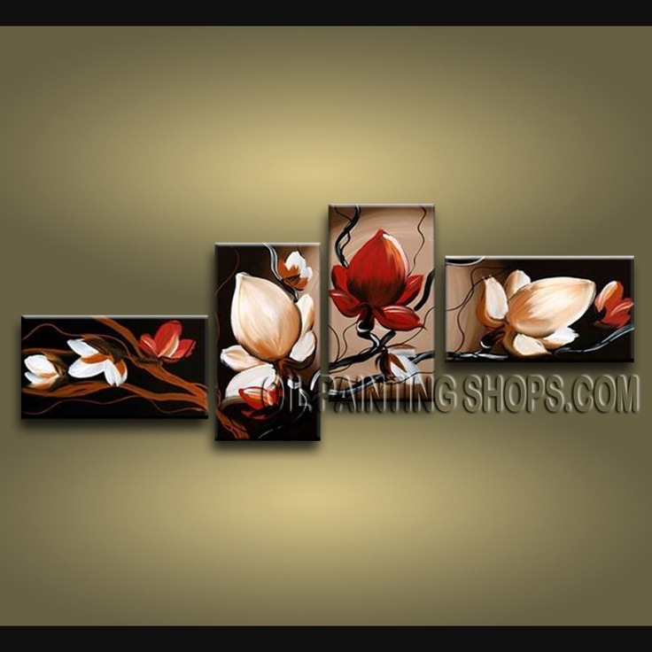 Stunning Contemporary Wall Art Hand Painted Oil Painting Gallery Stretched Tulip Flower. This 4 panels canvas wall art is hand painted by Bo Yi Art Studio, instock - $138. To see more, visit OilPaintingShops.com
