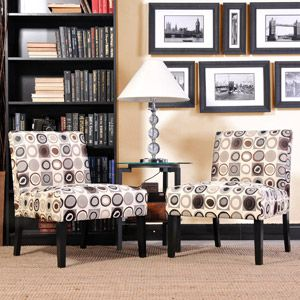 Mia Armless Accent Chairs Circles Pattern Set Of 2 224