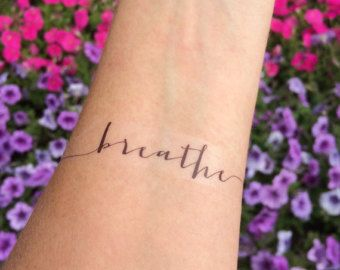 Breathe Tattoo, Arm Tattoo, Temporary Tattoo, Fake Tattoo, Birthday Gift, Inspirational Tattoo, Faith, Religious Tattoo, Breathe, Set of 2