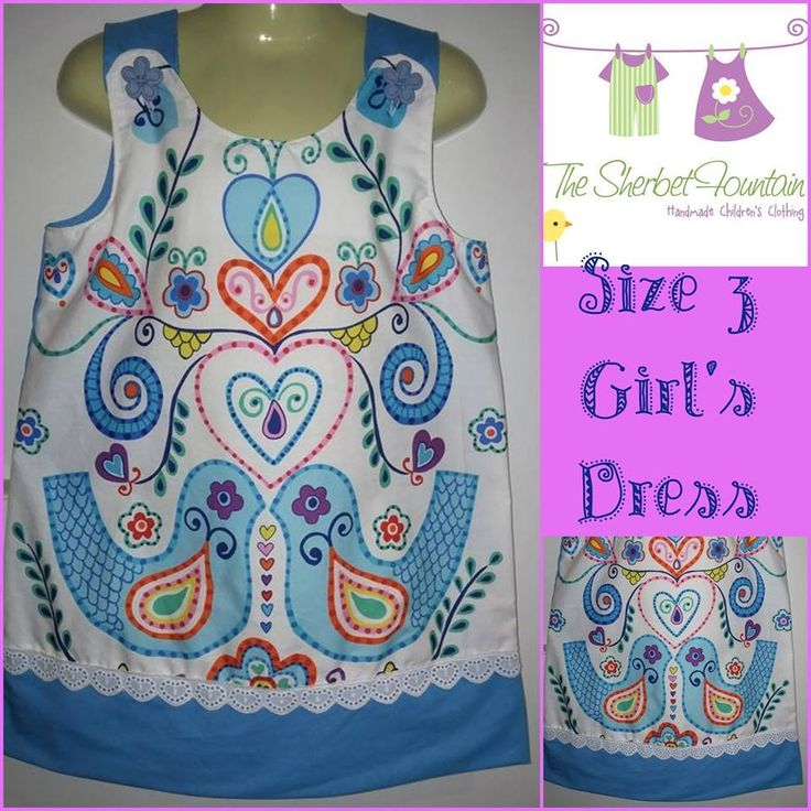 "Handmade by Deborah for The Sherbet Fountain  ""Birdy Blue"" Girl's Dress"