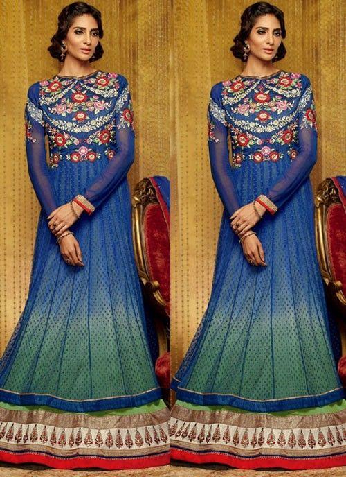 #Blue Impressive #Suit With #Resham Work