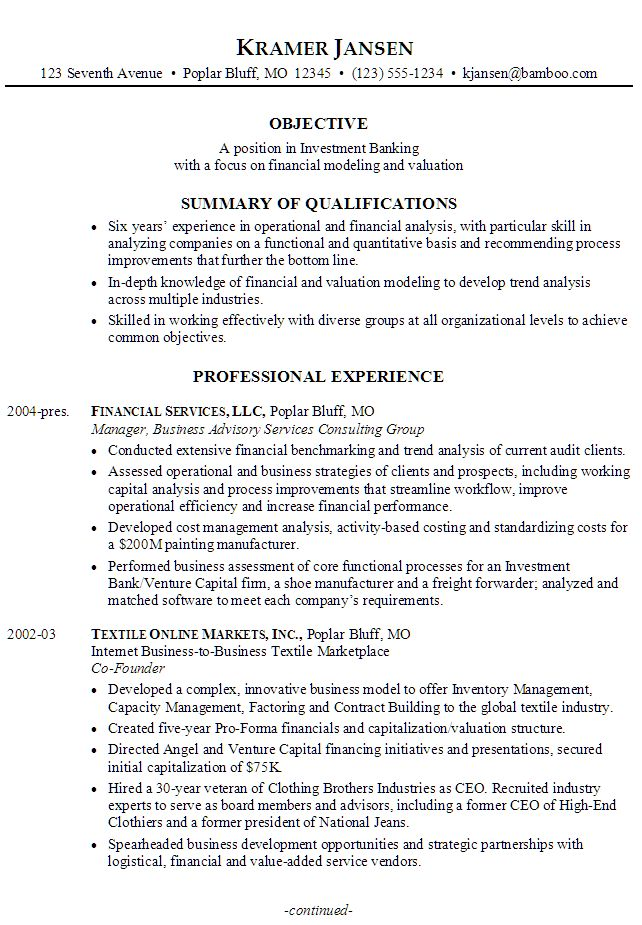 Sample Resume for someone seeking a job in Investment Banking with a focus on Financial Modeling and Valuation