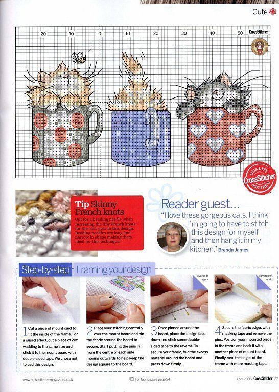 Cross-stitch Cats in coffee mugs... no color chart available, just use the colors on pattern chart as your guide.    Solo Patrones Punto Cruz | Aprender manualidades es facilisimo.com