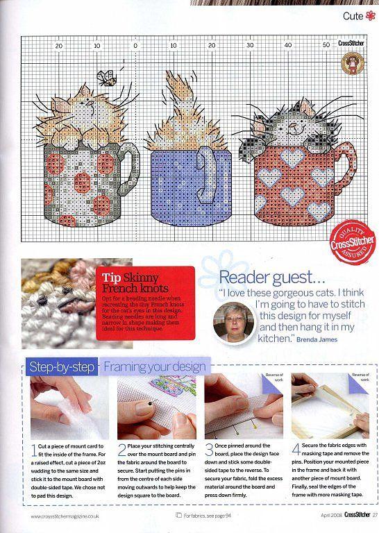 Kittens in Mugs - 3/3 Solo Patrones Punto Cruz (pág. 42) | Aprender manualidades es facilisimo.com