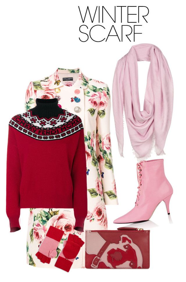 """Scarf on style 2018"" by nashalymoe ❤ liked on Polyvore featuring Dolce&Gabbana, Versace, Calvin Klein 205W39NYC, Diane Von Furstenberg, Kate Spade, Fendi and winterscarf"