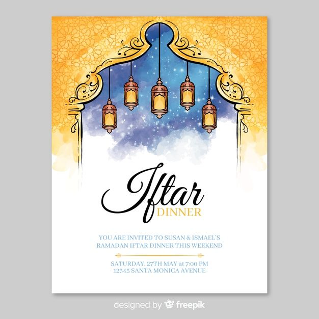 Download Watercolor Iftar Invitation Template For Free Invitation Template Vector Free Invitations