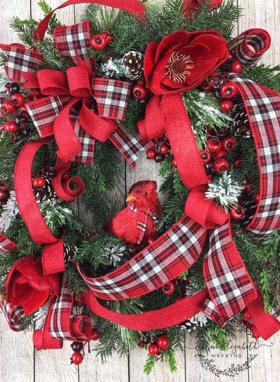 Christmas Wreaths For Front Door Cardinal Wreath Winter Etsy Christmas Wreaths Red Christmas Wreath Christmas Wreaths For Front Door
