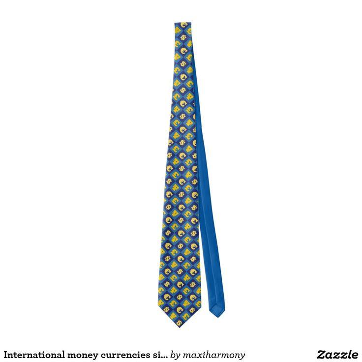 International money currencies signs pattern tie