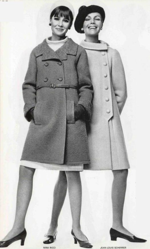 1966 coats nina ricci and jean louis scherrer vintage wool 60s fashion style designer models. Black Bedroom Furniture Sets. Home Design Ideas