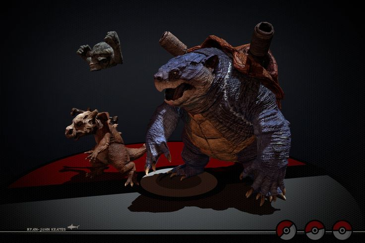 "Realistic Pokemon ""Blastoise, Cubone and Geodude"", Ryan-John Keates on ArtStation at https://www.artstation.com/artwork/m8grE"