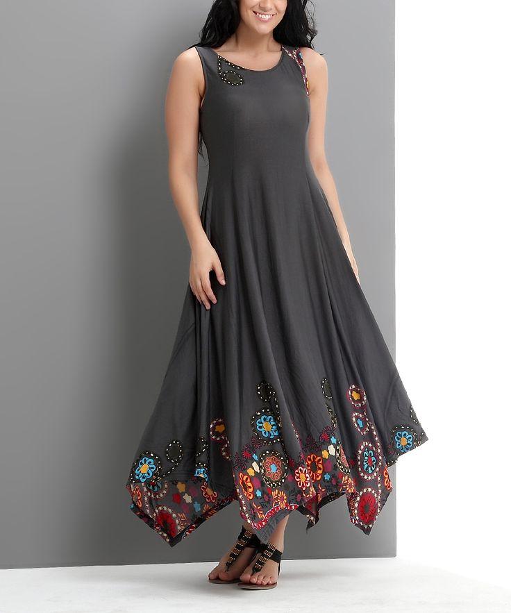 Charcoal Garden Sleeveless Handkerchief Maxi Dress - Plus