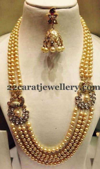 Jewellery Designs: Pearls Haram with Rhodium Jhumka ... | 417 x 705 jpeg 55kB
